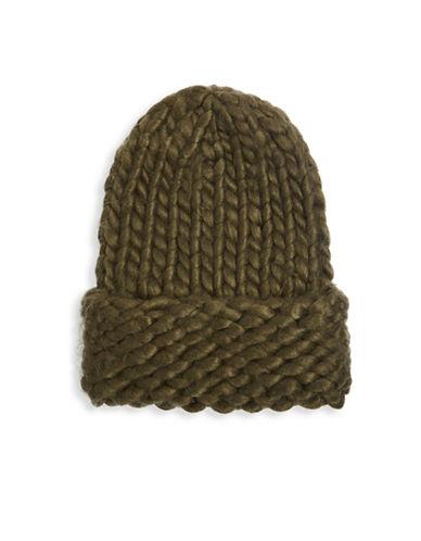 Topshop Handknit Beanie-KHAKI-One Size