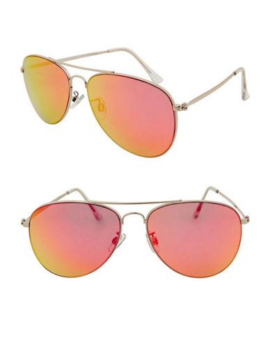 Topshop Ally Revo Aviator Sunglasses-PINK-One Size