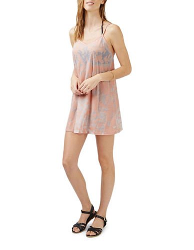 Topshop Burnout Strappy Sundress-NUDE-Medium