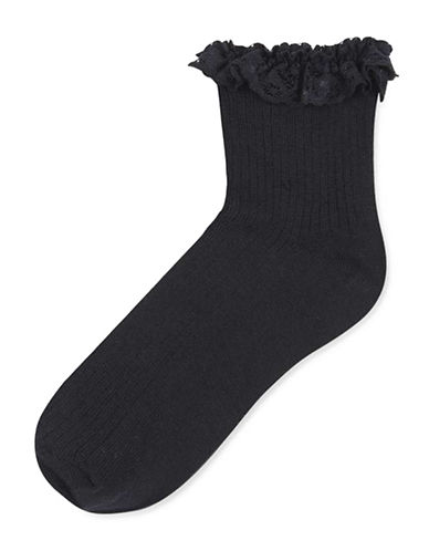 Topshop Lace Trim Ankle Socks-BLACK-One Size