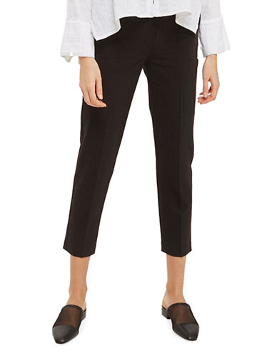 Topshop High-Waist Peg Leg Pants-BLACK-4 Short