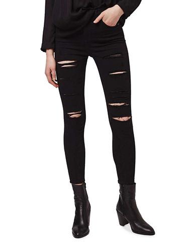 Topshop MOTO Rip Jamie Jeans 30-Inch Leg-BLACK-28X30