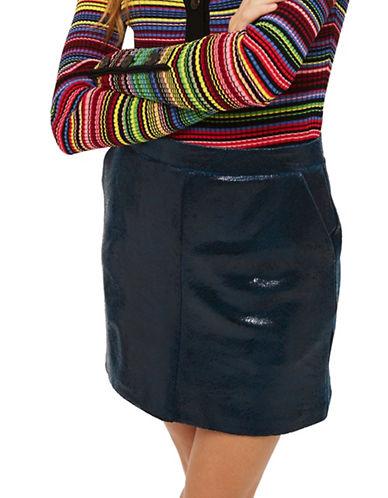 Topshop Pony Velvet Mini Skirt-BLUE-UK 8/US 4