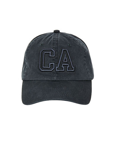 Topshop Embroidered CA Washed Baseball Cap-NAVY BLUE-One Size