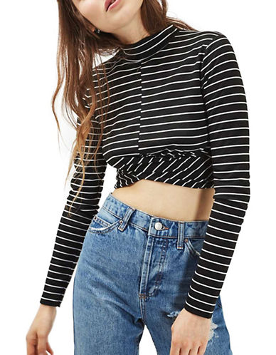 Topshop Stripe Twist Crop Top-BLACK-UK 12/US 8 88903916_BLACK_UK 12/US 8