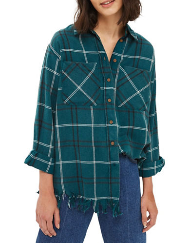 Topshop Check Shredded Hem Shirt-TEAL-UK 8/US 4