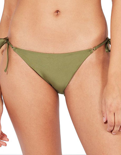 Topshop Tie-Side Bikini Bottoms-KHAKI-UK 12/US 8