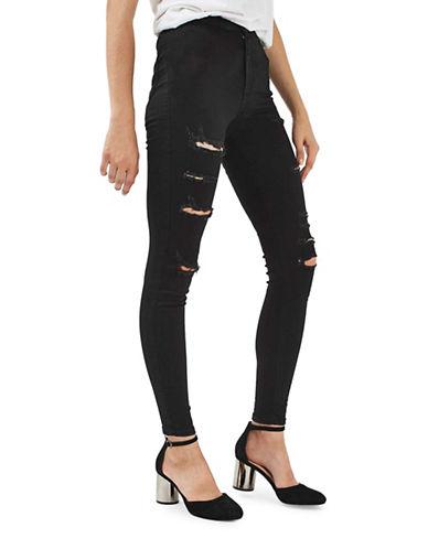 Topshop MOTO Ripped Joni Jeans 32-Inch Leg-BLACK-32X32