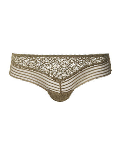Topshop Broderie and Lace Panties-KHAKI-UK 8/US 4