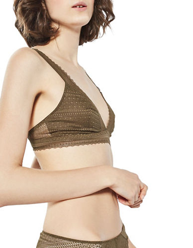 Topshop Lace Triangle Bra-KHAKI-UK 12/US 8