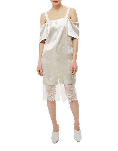 Topshop Cold-Shoulder Satin Midi Dress-IVORY-UK 12/US 8