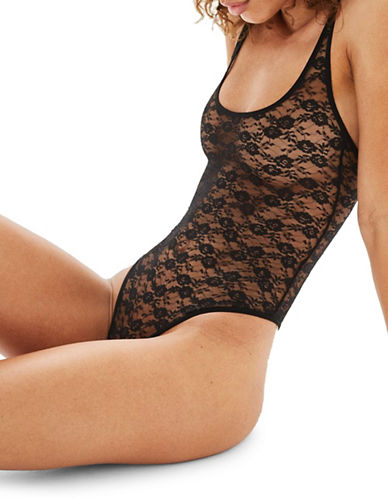 Topshop Lace Sheer Bodysuit-BLACK-UK 6/US 2