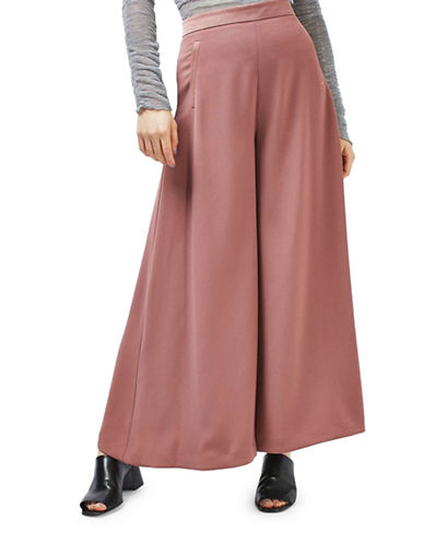 Topshop Solid Palazzo Pants-DARK PINK-UK 16/US 12