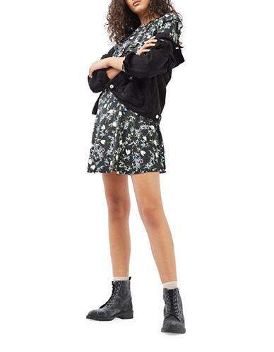 Topshop Blossom Frill Dress-BLACK-UK 6/US 2