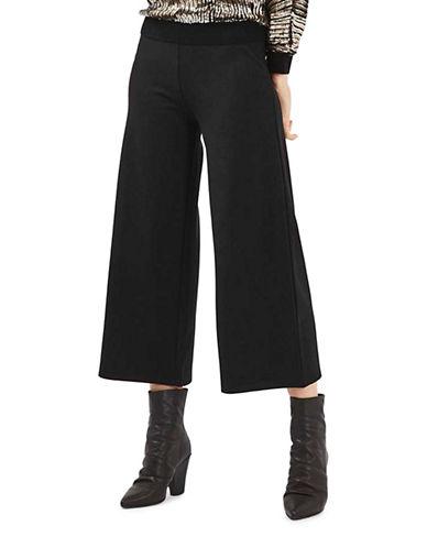 Topshop Awkward Wide Ponte Trousers-BLACK-UK 8/US 4