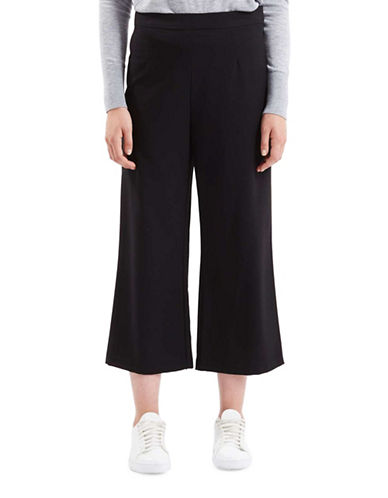 Topshop Vera Cropped Wide Pants-BLACK-UK 12/US 8