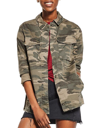 Topshop Sampson Camo-Printed Shacket-KHAKI-UK 10/US 6