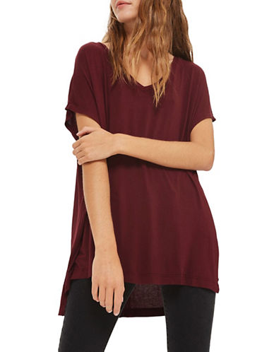 Topshop Split-Side Tee-BURGUNDY-UK 6/US 2