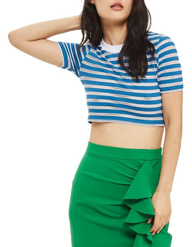 Topshop Striped Airtex Crop Tee-BLUE-UK 12/US 8