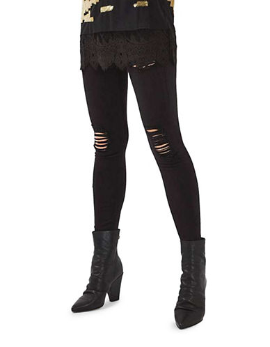 Topshop MOTO Super Rip Jamie Jeans 32-Inch Leg-BLACK-26X32