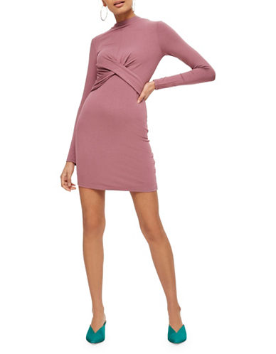 Topshop PETITE Twist-Front Dress-LILAC-UK 10/US 6