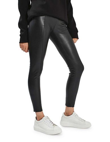 Topshop Ultimate Super Stretch Faux Leather Trousers-BLACK-UK 14/US 10