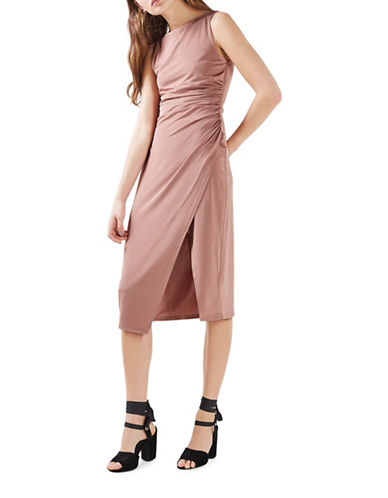Topshop Slinky Drape Midi Dress-NUDE-UK 12/US 8