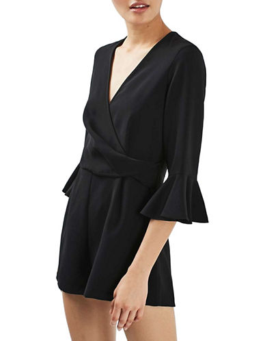 Topshop Tree Trumpet-Sleeved Playsuit-BLACK-UK 10/US 6