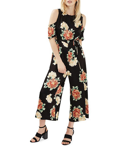 Topshop Floral Jumpsuit-BLACK-UK 14/US 10