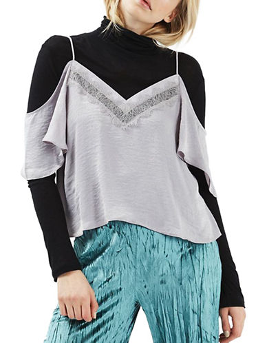 Topshop Cold-Shoulder Lace-Insert Camisole Top-SILVER-UK 14/US 10