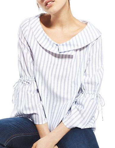 Topshop Striped Poplin Top-WHITE-UK 6/US 2 89107981_WHITE_UK 6/US 2