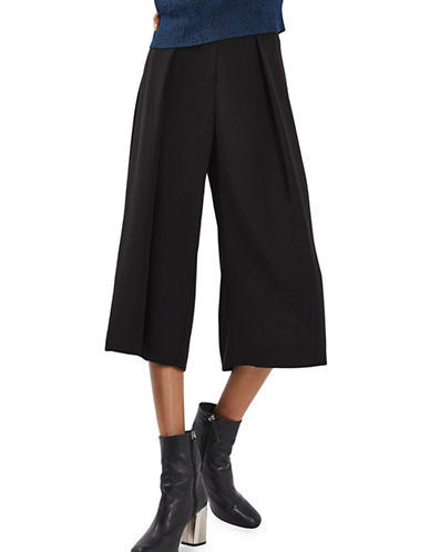 Topshop PETITE Vera Cropped Wide Pants-BLACK-UK 12/US 8
