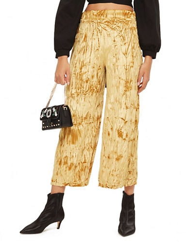 Topshop Crushed Velvet Cropped Trousers-GOLD-UK 8/US 4