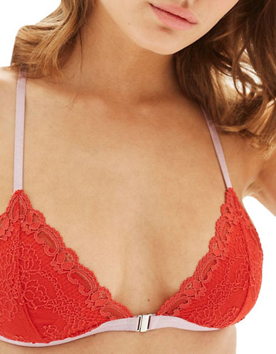 Topshop Cordelia Padded Lace Bra-ORANGE-UK 14/US 10
