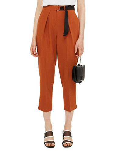 Topshop Belted Peg Trousers-RUST-UK 10/US 6