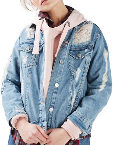 Topshop MOTO Rip Oversized Denim Jacket-BLUE-UK 6/US 2