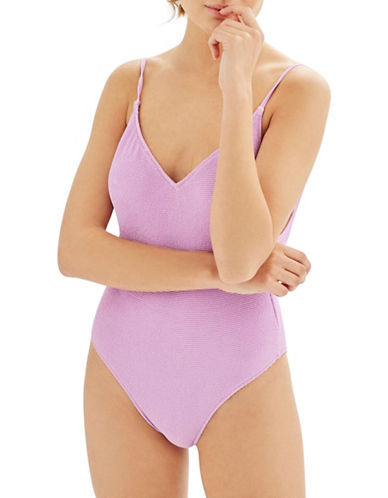 Topshop One-Piece Shirred Swimsuit-LILAC-UK 12/US 8