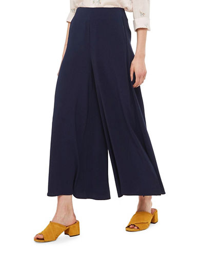Topshop Side Split Palazzo Trousers-NAVY BLUE-UK 12/US 8
