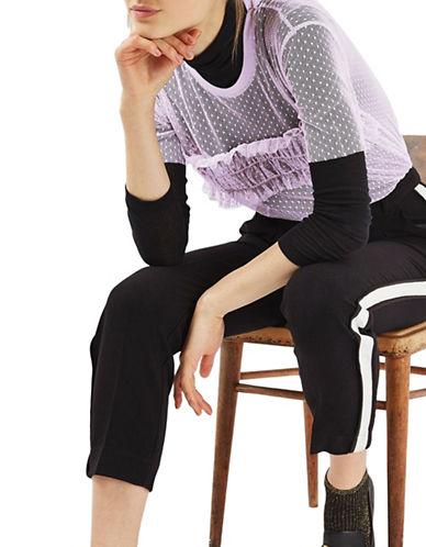 Topshop PETITE Dobby Mesh Ruffle T-Shirt-LILAC-UK 6/US 2