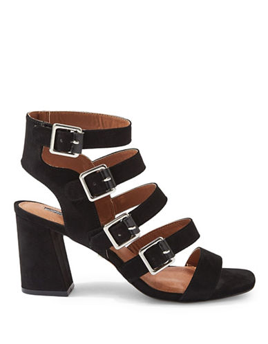 Topshop Natasha Multi-Buckle Sandals-BLACK-EU 40/US 9.5