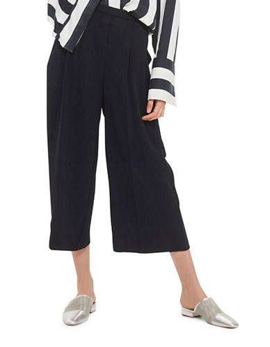 Topshop Sasha Cropped Wide Leg Trousers-NAVY BLUE-UK 10/US 6