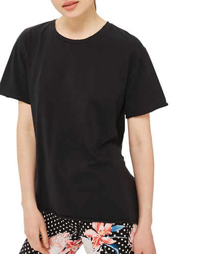 Topshop Tulle Back T-Shirt-BLACK-UK 8/US 4