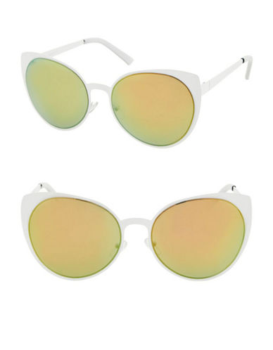 Topshop Martinez Cateye Sunglasses-WHITE-One Size