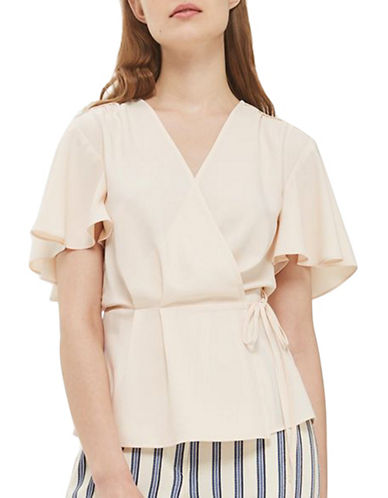 Topshop TALL Rita Wrap Top-BLUSH-UK 14/US 10