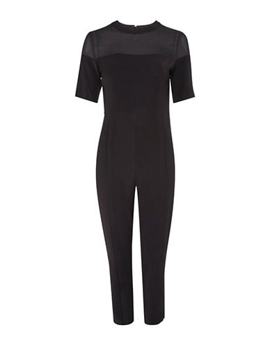 Topshop Sheer Panel Jumpsuit-BLACK-UK 14/US 10