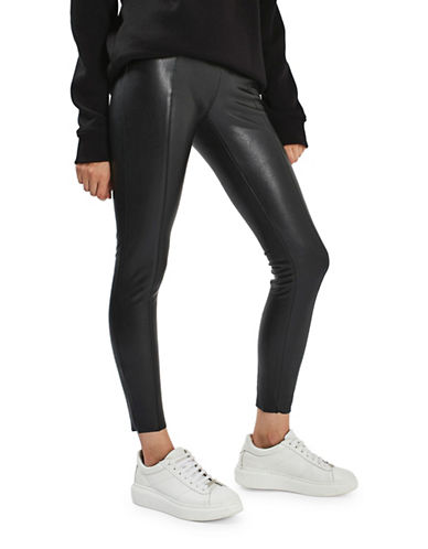 Topshop TALL Ultimate Super Stretch Faux Leather Trousers-BLACK-UK 12/US 8