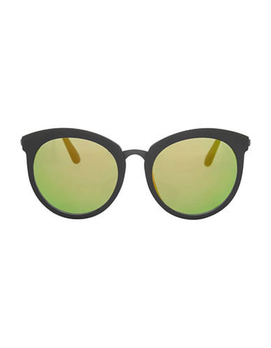 Topshop Sebb Round Sunglasses-BLACK-One Size