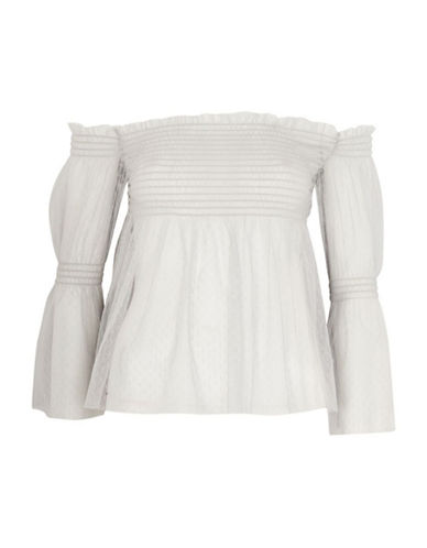 Topshop Tulle Trumpet-Sleeved Bardot Top-LIGHT GREY-UK 8/US 4