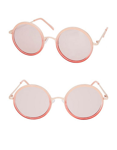 Topshop Lopez Flat Lens Round Sunglasses-PINK-One Size