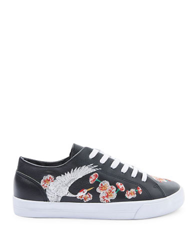 Topshop Tulip Embroidered Trainers-BLACK-EU 40/US 9.5